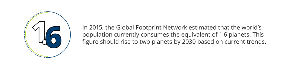 "In 2015, the Global Footprint Network estimated that, ""the world's population currently consumes the equivalent of 1.6 planets."