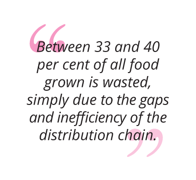 between 33 and 40 per cent of all food grown is wasted, simply due to the gaps and inefficiency of the distribution chain pull quote