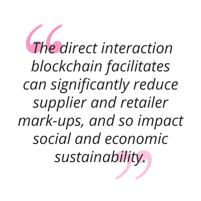 The direct interaction blockchain facilitates can significantly reduce supplier and retailer mark-ups, and so impact social and economic sustainability. pull quote