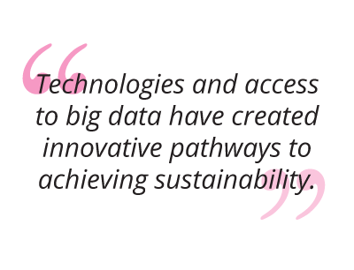 Technologies and access to big data have created innovative pathways to achieving sustainability pull quote