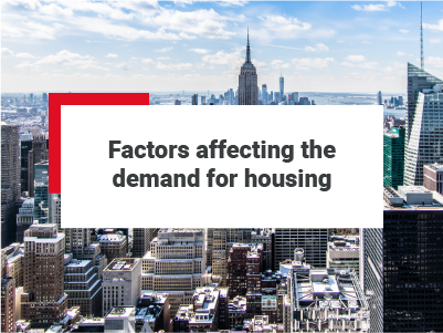 View of a modern city - 'Factors that affect the demand for housing' has been positioned over the image.